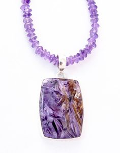 Sterling Silver Charoite Amethyst Pendant/ Necklace