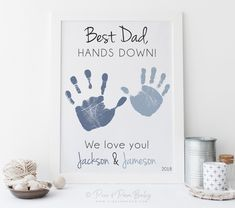 gift for dad Handprint Gift for Dad from Kids Father's Day, Birthday, Best Father Hands Down Art, Personalized ,Your Child's Hands or UNFRAMED Diy Father's Day Crafts, Father's Day Diy, Crafts For Kids, Birthday Crafts, Dad Birthday, Diy Birthday Gifts For Dad, Homemade Fathers Day Gifts, Birthday Card For Grandpa, Diy Gifts For Fathers Day