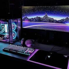 Getting closer to my dream setup : battlestations - Gamer House Ideas 2019 - 2020 Gaming Desk Setup, Best Gaming Setup, Gamer Setup, Pc Setup, Tour Pc, Configuration Pc, Deco Gamer, Gaming Pcs, Video Game Rooms