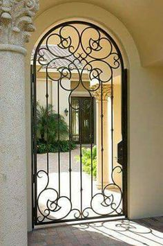 Courtyard Gates courtyard - Iron Doors, Steel Doors & Windows by Cantera Doors Metal Gates, Wrought Iron Doors, Tor Design, Gate Design, Entrance Gates, Entry Doors, Window Grill Design, Iron Steel, Iron Work