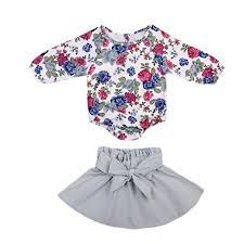 b977ca97501 Infant Baby Girl Long Sleeve Floral Romper Bowknot Dress Skirt Casual  Toddler Baby Girl Clothes Set