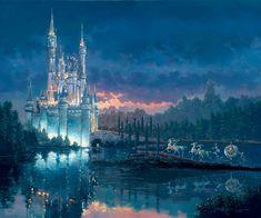 Disney Dreams Art - Rodel Gonzalez Moments Away-Cinderella - Thomas Kinkade Online Disney Pixar, Disney E Dreamworks, Walt Disney, Orlando Disney, Cinderella Art, Cinderella Moments, Cinderella Castle, Cinderella Pictures, Cinderella Carriage