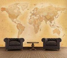 Mapa del mundo antigua - Mural de papel pintado Mural de papel pintado en AllPosters.es