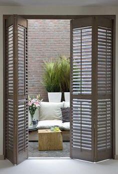 Interior folding wooden door shutter RUSTIQUE JASNO SHUTTERS France-shutter instead of glass sliding