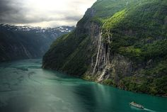 """Geiranger -  The """"Seven Sisters"""" waterfall by Bergen64, via Flickr (Note the abandoned farm right of the waterfall)"""