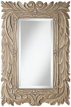 "Acanthus 36"" High Gray Glaze Framed Mirror -This would be a great color for my grandmother's mirror."