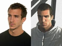 Desmond Miles(right) and Francisco Randez(left).Francisco is a Canadian-French model with a Spanish background(yum).He is the inspiration for the character on the right as well as the character Altair Ibn-La' Ahad in the popular gaming franchise known as Assassin's Creed.