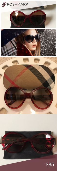 Burberry sunglasses Authentic Burberry sunglasses. Model: B 4102 | Frame color: Red | Lens color: Brown Gradient. Same style & size as the try-on photo in different color. Condition: Like new. No scratches. Comes with the original Burberry case + cloth. Burberry Accessories Sunglasses