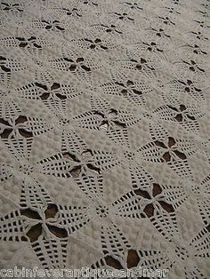 Vintage Ecru Crochet Popcorn Tat Trim Bedspread Throw Coverlet Canopy 74x80 | eBay