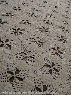 Vintage Ecru Crochet Popcorn Tat Trim Bedspread Throw Coverlet Canopy 74x80   eBay
