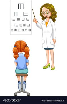 Girl having her eyes checked Royalty Free Vector Image ,