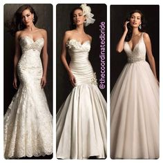 A few pieces from the Allure 2014 bridal gown collection! #weddingdress #weddinggown #dressshopping #fashion #instafashion #engaged #bride #bridetobe #weddingplanning #weddingcountdown #ifoundthegown #sayyestothedress #pinterest #thecoordinatedbride