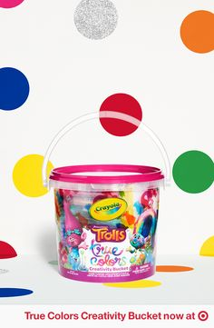 Rock Your True Colors with the Crayola Creativity Bucket. It has everything you need to get creative from glitter paint and pens to crayons. Find art supplies and more fun DreamWorks Trolls gear at Target.