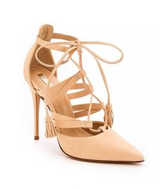 Lace it up with Schutz Zora Pumps in Sand
