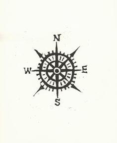 PRINT -  Compass / Cardinal directions BLACK LINOCUT 8x10