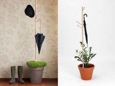 Porta guarda chuva usa água que pinga para irrigar planta