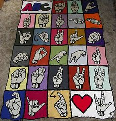 ASL ABC Intarsia Chart Blanket.  Free Chart Ravelry Download.