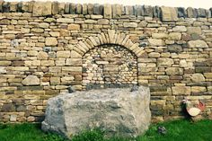 Dry Stone wall, highland cow, natural stone, archway, sandstone, garden feature. Copyright C&M StoneWork Rock Retaining Wall, Redford House, Dry Stone, Garden Features, Stone Work, Natural Stones, Outdoor Living, Stone Archway, Sidewalk
