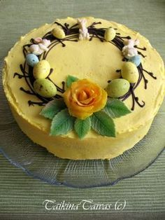 Orange flavoured Easter cheesecake use for decorating idea Easter Cheesecake, Finnish Recipes, Pastry Cake, Easter Recipes, No Bake Cake, Food To Make, Sweet Tooth, Cake Decorating, Bakery