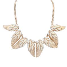 Misses White Gemstone Decorated Wing Shape Design Alloy Korean Necklaces :Asujewelry.com
