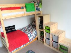 """IKEA BUNK BED STAIRS HACK. Ikea Trofast Steps with Ikea Besta and Strictly Beds and Bunks """"Everest"""" bunk bed."""