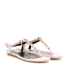mytheresa.com - Giant studded textured-leather sandals - flat - sandals - shoes - Luxury Fashion for Women / Designer clothing, shoes, bags