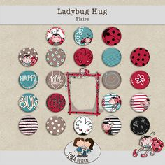SoMa Design Ladybug Hug Freebie Flairs Ladybug, Hug, Kids Rugs, Scrapbook, Happy, Design, Decor, Lady Bug, Decoration