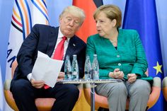 US President Donald J. Trump and German Chancellor Angela Merkel attend the the launch of the 'Women's Entrepreneurship Facility' Greatest Presidents, Us Presidents, Paris Climate, Red State, About Climate Change, World Leaders, S Word, Political Cartoons, Donald Trump