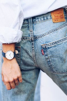 Campus Blue Canvas by Kapten & Son | picture by ninauc | watch for her | armcandy | details | blue | denim | canvas | blouse | stripes | summer | style | fashion | outfit | inspiration |