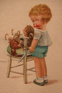Post Card w/ Child Cutting Dolls Hair
