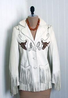 1940's embroidered, fringed white leather Western jacket