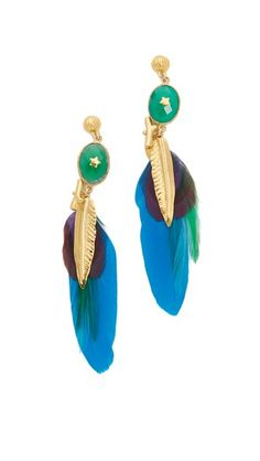 Bright pheasant feathers lend a luxe look to these GAS Bijoux drop earrings. Post closure.