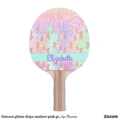 Unicorn glitter drips rainbow pink girl name ping pong paddle Green Name, Unicorn And Glitter, Ping Pong Paddles, Indoor Activities, Purple Roses, Monogram Initials, Girl Names, Happy Fathers Day, Rainbow Colors