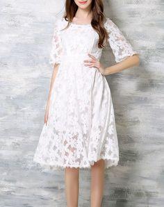 #AdoreWe #VIPme Swing Dresses - ZOSOL White Laced Half Sleeve Swing Sweet Midi Dress - AdoreWe.com