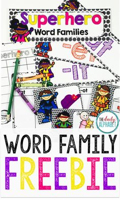 """Word families help students to identify familiar """"chunks"""" when decoding words…"""