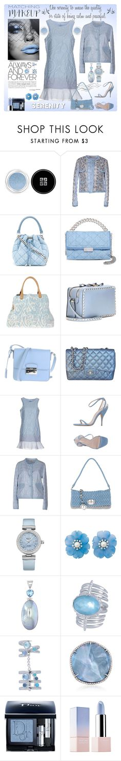 """""""Matchy-Matchy Makeup Serenity"""" by yours-styling-best-friend ❤ liked on Polyvore featuring beauty, Givenchy, Ermanno Scervino, STELLA McCARTNEY, Valentino, Prada, Chanel, Miu Miu, OMEGA and Helen Ringus"""