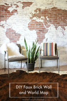 Mallory & Savannah of Classy Clutter used faux brick panels and paint from The Home Depot to create this cool DIY Brick Wall Map.    @classyclutter4