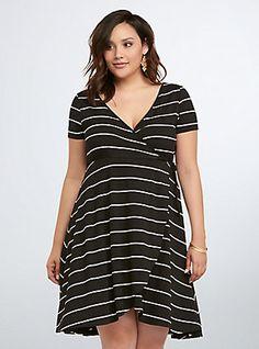 4bb806e1efd Plus Size Striped Wrap Dress