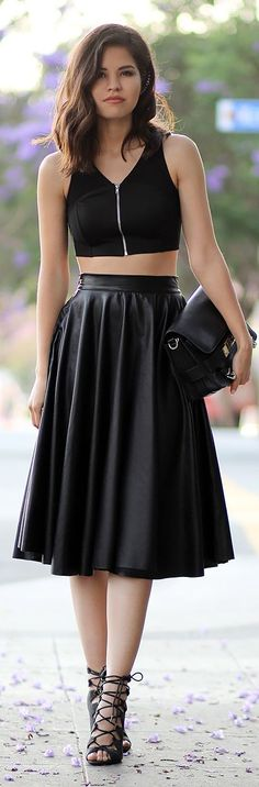 Chicwish Black Leather Midi Pleated A-skirt by Fake Leather