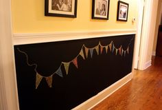 So My Walls Can Talk Part 1 ~ chalkboard wall  - Love this! A chalkboard wall for the kids, and dress it up with chalkboard art when you have guests over!