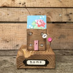 Home - natural wood Pip House with floral roof - reclaimed wood woodart shelf sitter - birthday housewarming new home gift present for her by ThePipHouse on Etsy