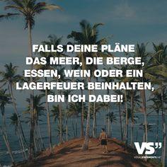 Visual Statements®️️ Falls deine Pläne das Meer, die Berge, Essen, Wein oder ein Lagerfeuer beinhalten, bin ich dabei! Sprüche / Zitate / Quotes / Reisen / Abenteuer / Weit / Weg / Sterne / Himmel / Sand / Meer / Freunde / Roadtrip / fliegen / Flieger /