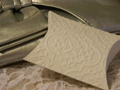 50 Embossed pillow box wedding favourswhite by cherrywhistle
