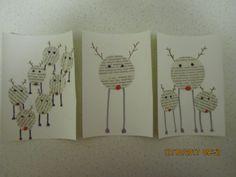 Poro joulukortit. Askarreltu kirjansivuista. (kortti, joulukortti, joulu, porokortti, porokortit )