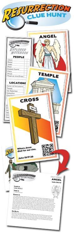 Resurrection Clue Hunt is an adaptation of a classic deduction game. Ideal for use in small groups facilitated by a leader, this lesson-based game helps to uncover the many aspects of Jesus' crucifixion and resurrection story. Bible Crafts For Kids, Bible Study For Kids, Mothers Day Crafts, Kids Bible, Sunday School Lessons, Lessons For Kids, Bible Lessons, Holy Week Activities, Easter Activities