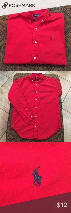 Polo Ralph Lauren Buttondown Boys red long sleeve Polo Ralph Lauren buttondown with navy Polo horse embroidered on breast. Good condition. Polo by Ralph Lauren Shirts & Tops Button Down Shirts