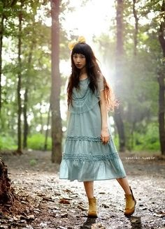Into the Forest Mori Girl Fashion, Cute Fashion, Spring Fashion, Japanese Outfits, Japanese Fashion, Forest Fashion, Forest Girl, Ethereal Beauty, Romantic Outfit