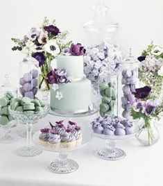 Sea green and lavender dessert table