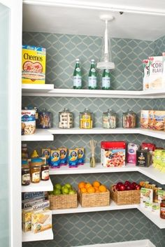 Wallpaper your pantry! Such a smart trick to add some flair to this small space