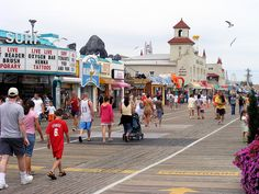 Ocean City, New Jersey Boardwalk, looking North from street. A wonderful family resort with planned events for every age group. Great Places, Places To See, Places Ive Been, Ocean City Nj Boardwalk, Nj Beaches, Family Resorts, New Jersey, Jersey Girl, Cape May